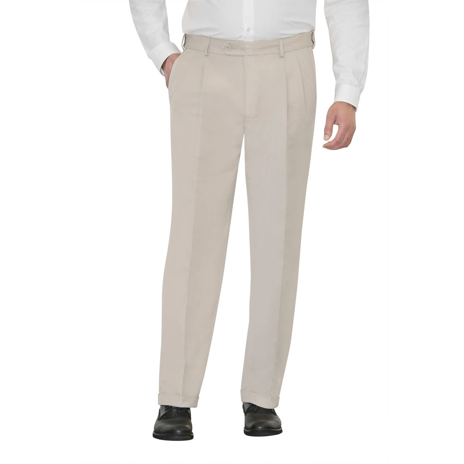 George Men's Wrinkle-Resistant Pleat Front Dress Pants