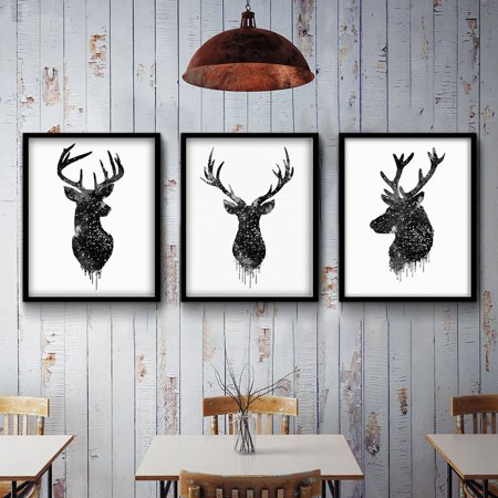 Moaere Deer Head Animal Minimalist Canvas Print Poster Watercolor Painting Modern Decor Unframed](Animal Print Decor)