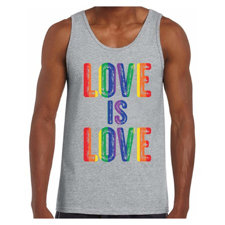 Awkward Styles Love is Love Tank Top for Men LGBTQ Muscle Shirt Gay Pride Tank Men's Love Is Love Graphic Tank Tops Love Graphic Tops - Muscle Shirts Mens