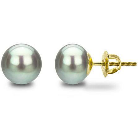 Image of 14kt 6-7mm Button Shape Grey Freshwater Pearl Screw-Back Stud Earrings
