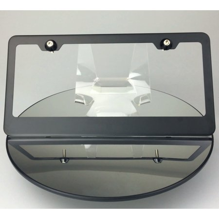 Regular Style Powder Coated Matte Black Stainless Steel License Plate Frame with Aluminum Screw Cap ()