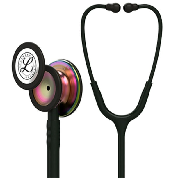 3M Littmann Classic III Stethoscope, Rainbow-Finish Chestpiece, black stem and headset, Black Tube, 27 inch