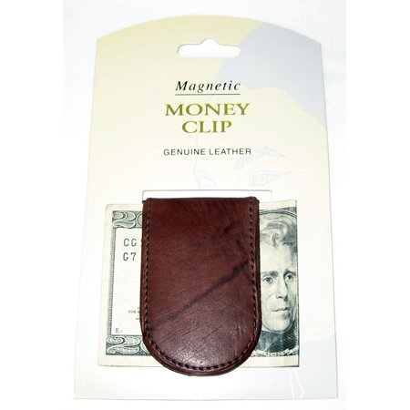 Mens Leather Covered Money Clip - Genuine Leather Magnetic Money Clip Brown Thin Slim Holder Money Card Id Men New