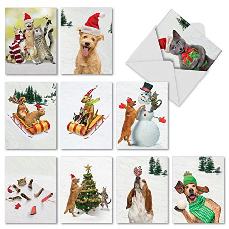 'M1731XS ANIMAL ANTICS' 10 Assorted Merry Christmas Greeting Cards Feature Cats and Dogs Frolicking in Holiday Dress with Envelopes by The Best Card Company