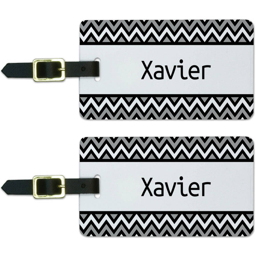 Xavier Black and Grey Chevrons Luggage Suitcase Carry-On ID Tags, Set of 2