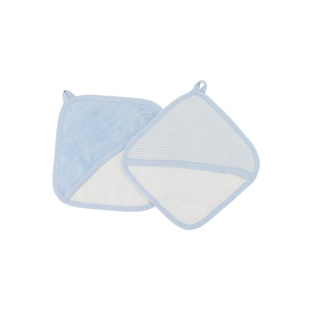 Trim Organic Cotton - Under the Nile Organic Cotton Baby Boy Striped Wash Mitt Set Pale Blue Stripe with Pale Blue Trim