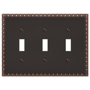 3 Toggle Egg & Dart Switch Plate Outlet Cover Wall Plate - Oil Rubbed Bronze