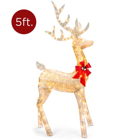 Best Choice Products 5ft 3D Pre-Lit Gold Glitter Christmas Reindeer Buck Yard Decoration w/ 150 Lights, Stakes, Zip Ties ()