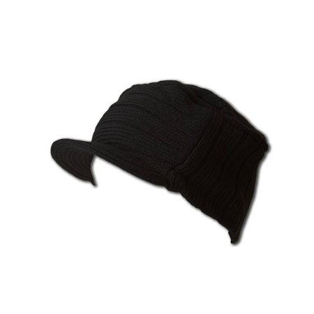 Square Rib Knitted Visor Beanie, Black