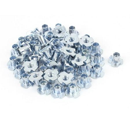 """50Pcs 4 Prongs Zinc Plated T-Nut Tee Nut 1/4""""-20 x 15/32"""" Half Thread - image 3 of 3"""