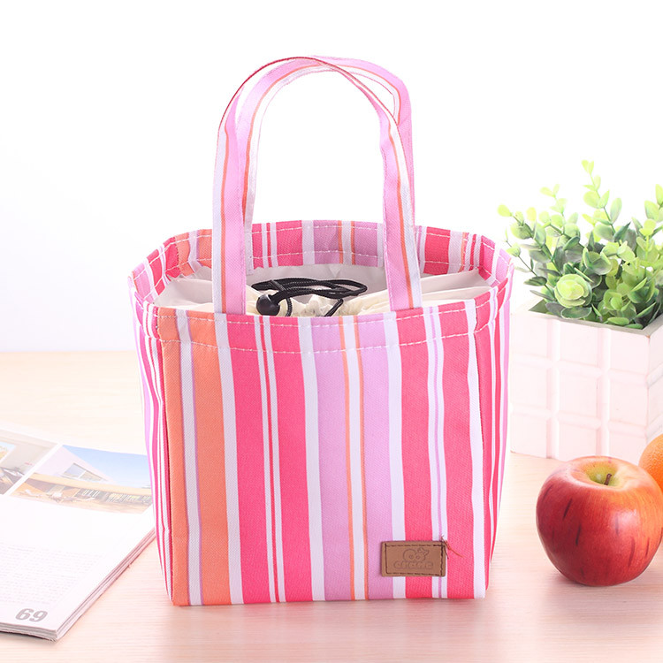 Insulated Cold Canvas Stripe Picnic Carry Case Thermal Portable Lunch Bag