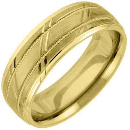 Mens 14KT Yellow Gold 6mm Satin Milgrain Comfort Fit Wedding Band
