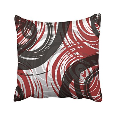 WinHome Red And Black White Gray Spiral Pattern Retro Abstract Multicolor Magnifique Polyester 18 x 18 Inch Square Throw Pillow Covers With Hidden Zipper Home Sofa Cushion Decorative Pillowcases