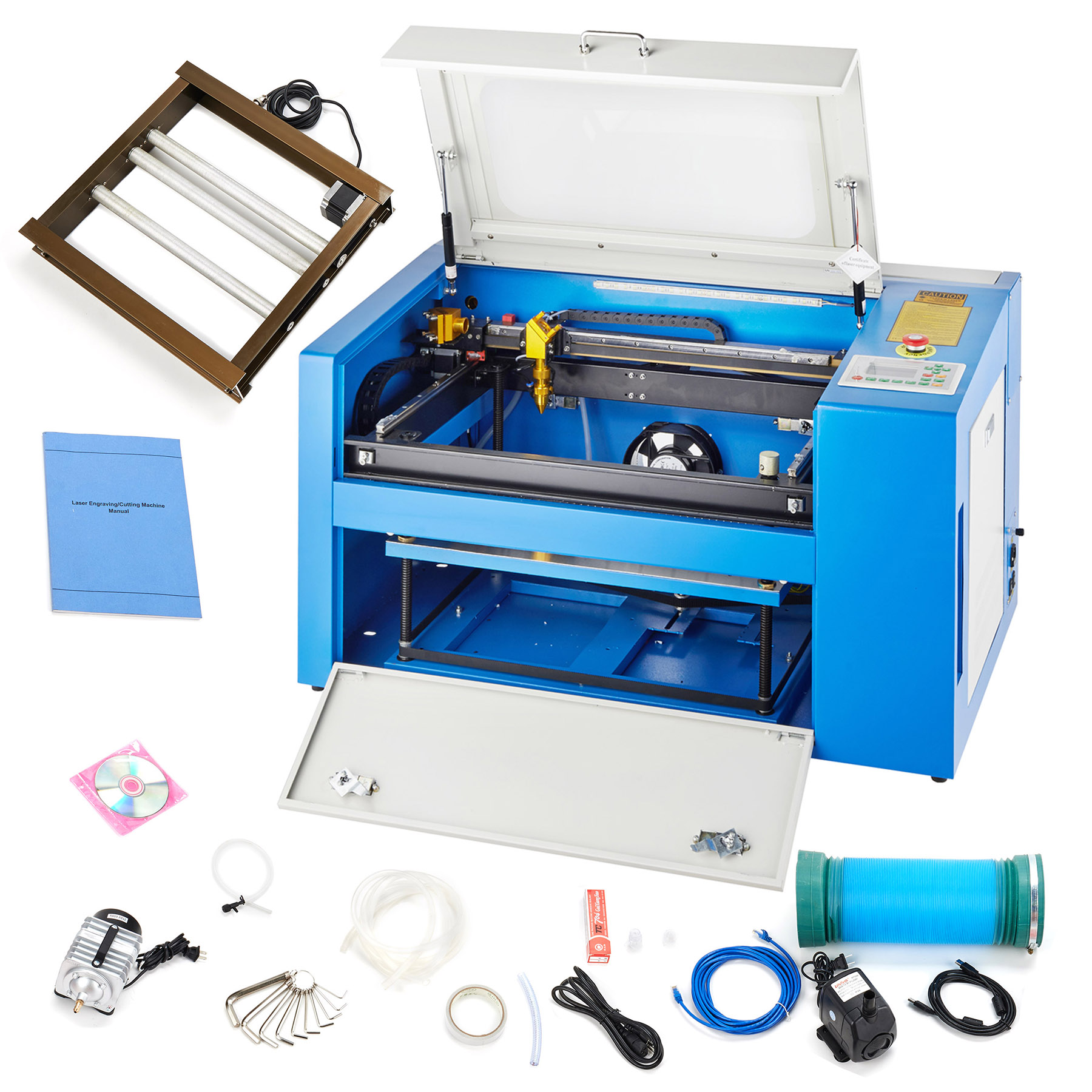 Motor Tek 50W CO2 Laser Engraving Machine Engraver Cutter with Auxiliary Rotary