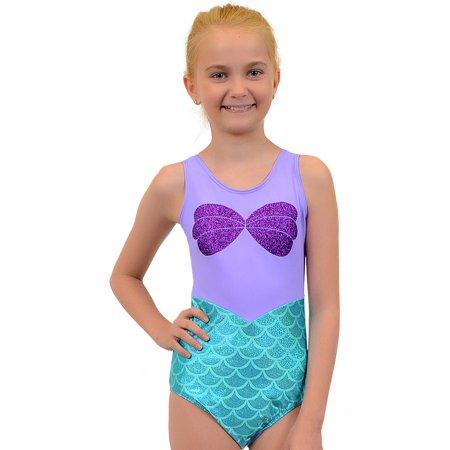 Girl's Mermaid Sparkle Ariel Leotard - Large (10) / Purple (Baby Leotard 18 Months)