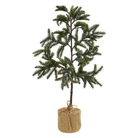 Uncut Natural - Nearly Natural 3 ft. Iced Pine Slim Unlit Christmas Tree