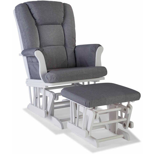 Storkcraft Swirl Tuscany Glider and Ottoman incl Lumbar Pillow White with Slate Gray Cushions by Storkcraft