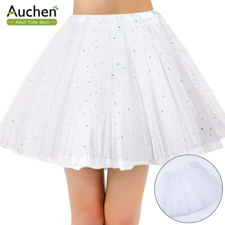 AUCHEN Tulle Skirt for Women Adult, 3-Layer Women's Classic Tulle Tutu Ballet Dance Fluffy Skirt, Tutu Flash Star Mesh Skirt Performance Skirt for Tutu, Party, Cosplay, Night Clubs (White- One Size) Sateen Spandex Skirt