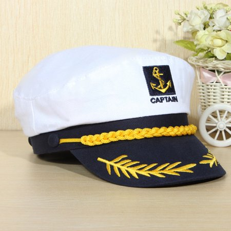 Fashion Yacht Ship Unisex Peaked Skipper Sailors Navy Captain Boating Hat Cap Adult Fancy Dress Cosplay Party Accessories for Nautical Themed Outfits