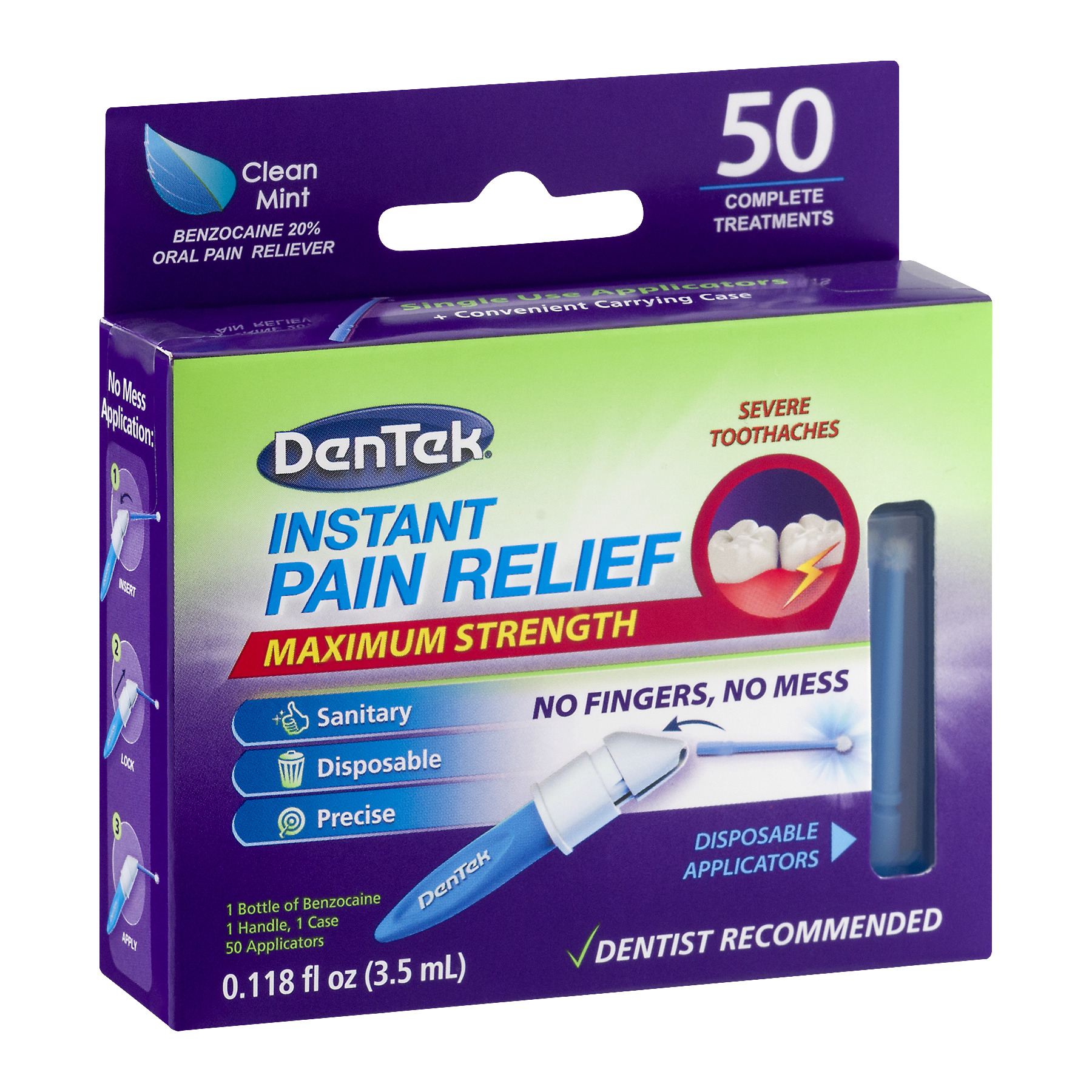 Dentek Instant Pain Relief Maximum Strength Benzocaine 20 Reliever Complete Treatments 50 Ct
