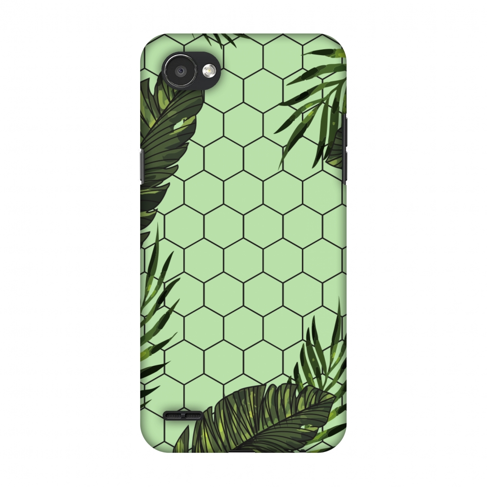 LG Q6 Case, LG Q6 Plus Case - Tropical Leaves - Pale Green,Hard Plastic Back Cover, Slim Profile Cute Printed Designer Snap on Case with Screen Cleaning Kit