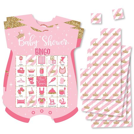 Little Princess Crown - Picture Bingo Cards and Markers - Pink and Gold Princess Baby Shower Shaped Bingo Game - Set of 18 - Baby Princess Party Supplies
