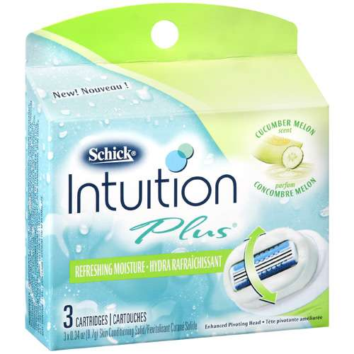 Energizer Schick Intuition Plus Cartridges, 3 ea