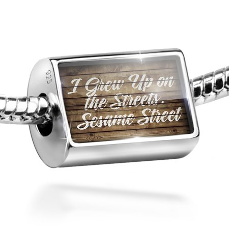 Neonblond Charm Painted Wood I Grew Up on the Streets, Sesame Street 925 Sterling Silver Bead Sesame Street Paint