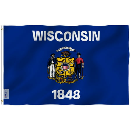 """ANLEY Fly Breeze 3x5 Foot Wisconsin State Flag - Vivid Color and UV Fade Resistant - Canvas Header and Double Stitched - Wisconsin WI Flags Polyester with Brass Grommets 3 X 5 Ft"""