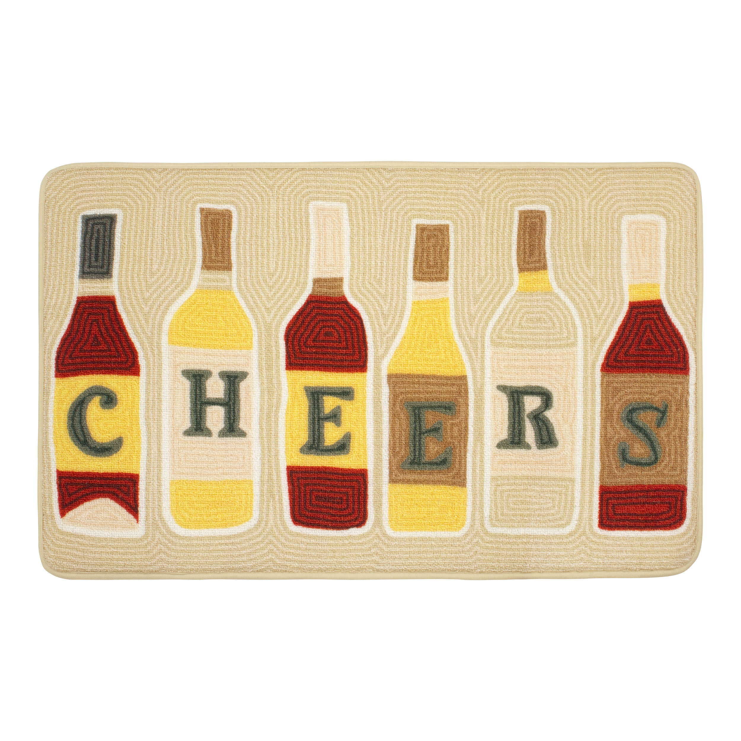 Chef Gear HD Printed 20 x 32 in. Cheers Kitchen Rug, Beige