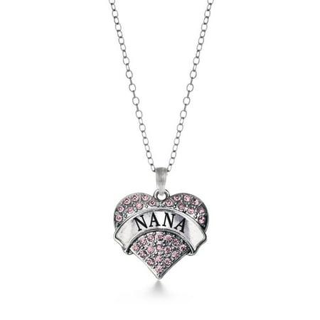 Pink Nana Pave Heart Necklace
