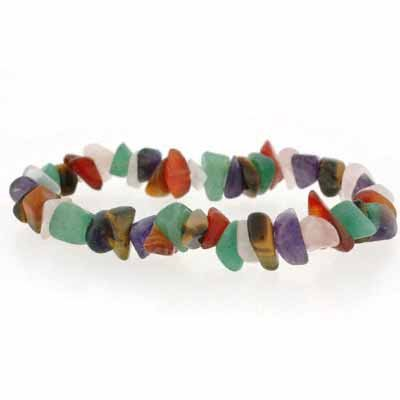 Genuine Tiger Eye, Carnelian, Aventurine, Amethyst, and  Rose Quartz Chip Stretch Bracelet
