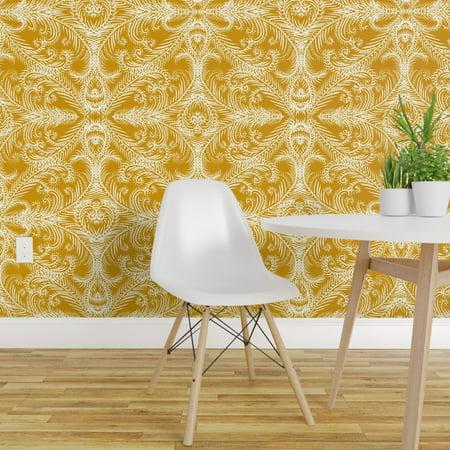 Wallpaper Roll Gold Mustard Swirls Winter Christmas Elegant Holiday 24