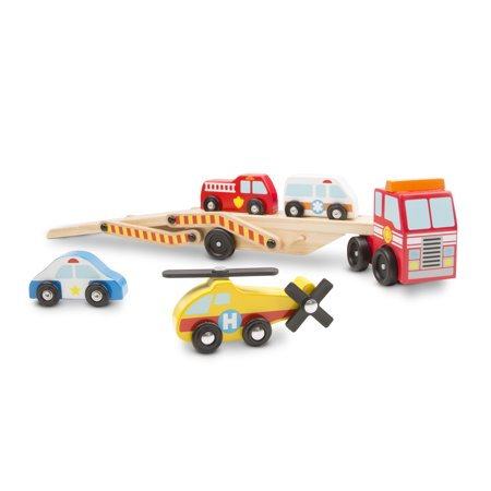 Melissa And Doug Car Carrier (Melissa & Doug Wooden Emergency Vehicle Carrier Truck With 1 Truck and 4 Rescue)