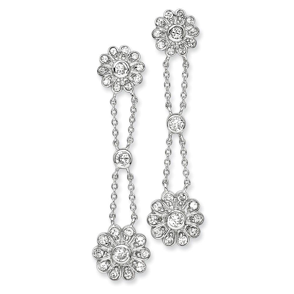 Sterling Silver CZ Fancy Floral Post Earrings. (2.1IN x 0.5IN )