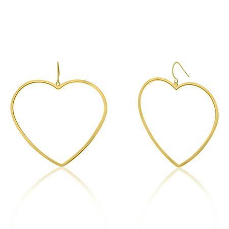 Bliss Women's Polished Open Heart Drop Hook Yellow Gold-Tone (Bliss Golf)