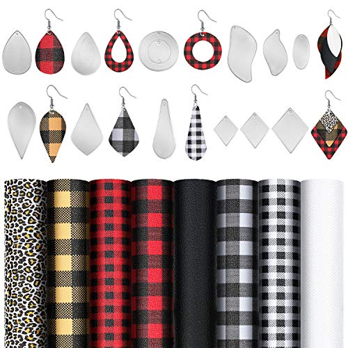 12 Pieces Teardrop Earring Cutting Dies Metal Earring Die Cuts Molds and 6 Pieces Faux Leather Sheets for DIY Earring Making Crafts Supplies