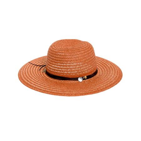 596bccc0e805f Scala - NEW Womens Rust Toyo Big Wide Brim Paper Braid Large Floppy Beach  Sun Hat - Walmart.com