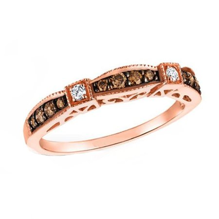 Chocolate Wedding Ring (Chocolate CZ  Bridal Wedding Ring Band Rose Gold over 925 Sterling)