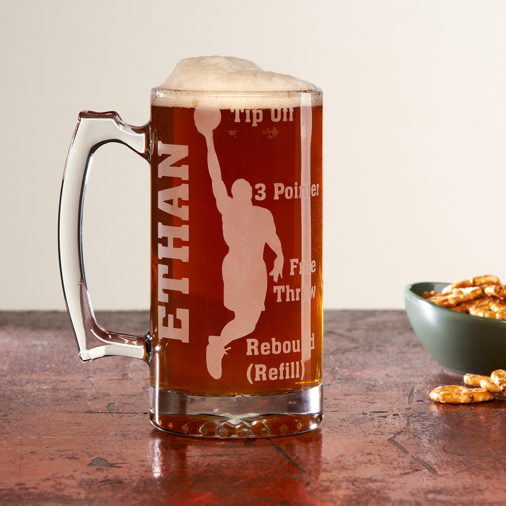 Personalized Sports Fan 25oz Beer Mug, Basketball