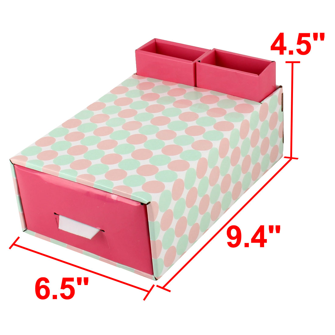 Unique Bargains Home Paper Dot Pattern DIY Foldable Book Holder Container Storage Box Case Red - image 3 of 6