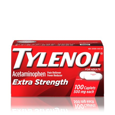 (3 pack) Tylenol Extra Strength Caplets, Fever Reducer and Pain Reliever, 500 mg, 100 ct. (Tylenol Cold Caplets)