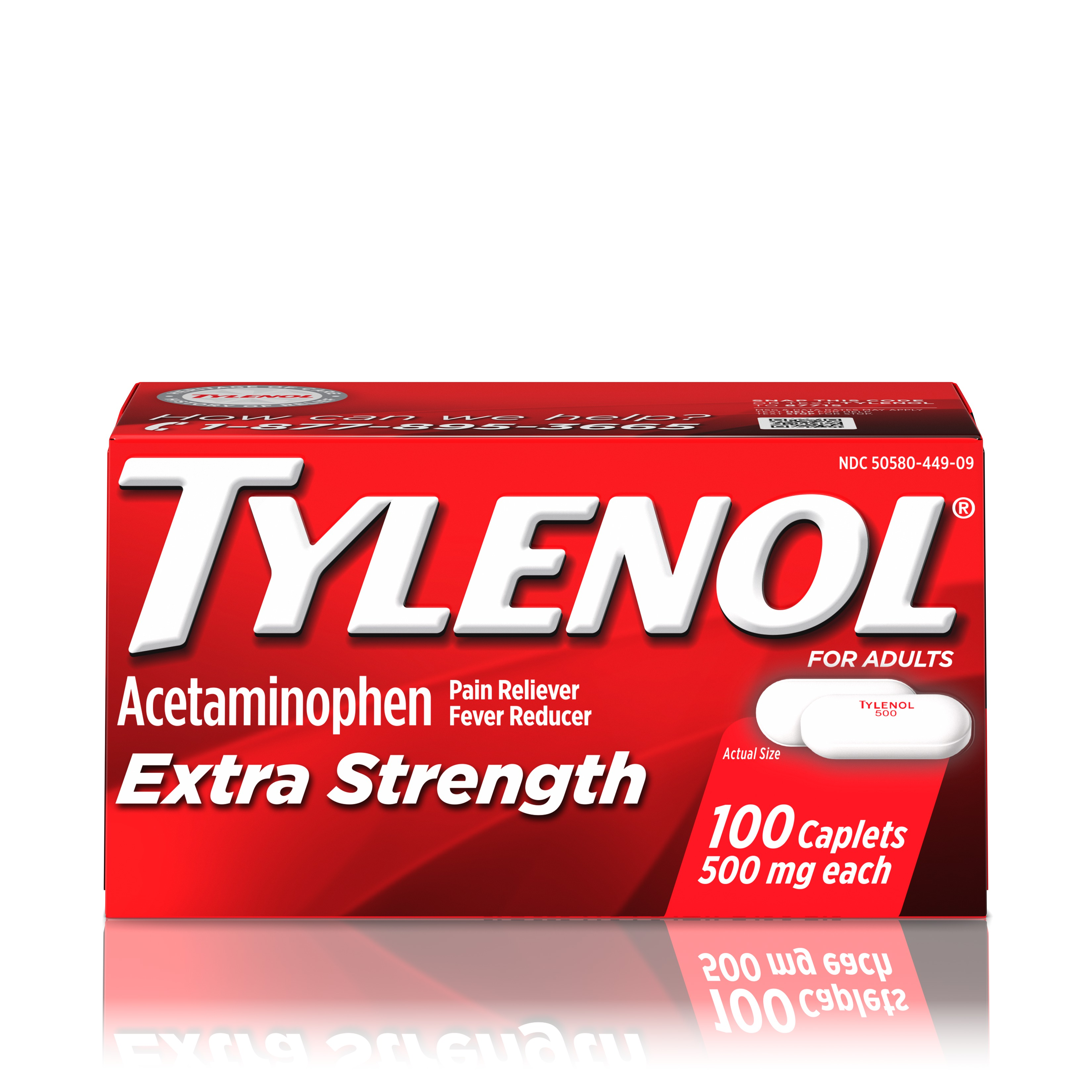 Tylenol Extra Strength Caplets, Fever Reducer and Pain Reliever, 500 mg, 100 ct.