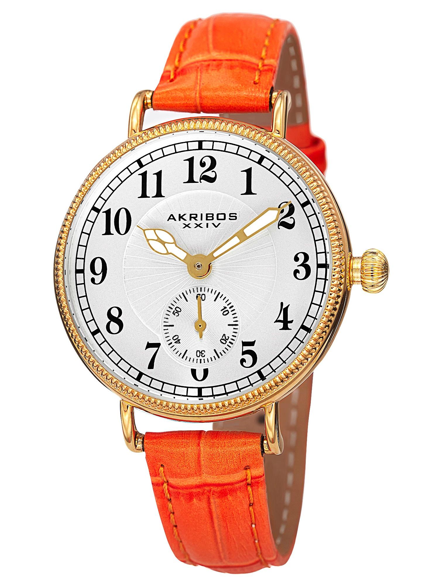 AK828OR Akribos XXIV Women's Quartz Multifunction Leather Orange Strap Watch