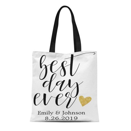 LADDKE Canvas Tote Bag Bride Best Day Ever Personalized Wedding Welcome Favor Bridesmaid Reusable Handbag Shoulder Grocery Shopping Bags](Personalized Bridesmaid Bags)