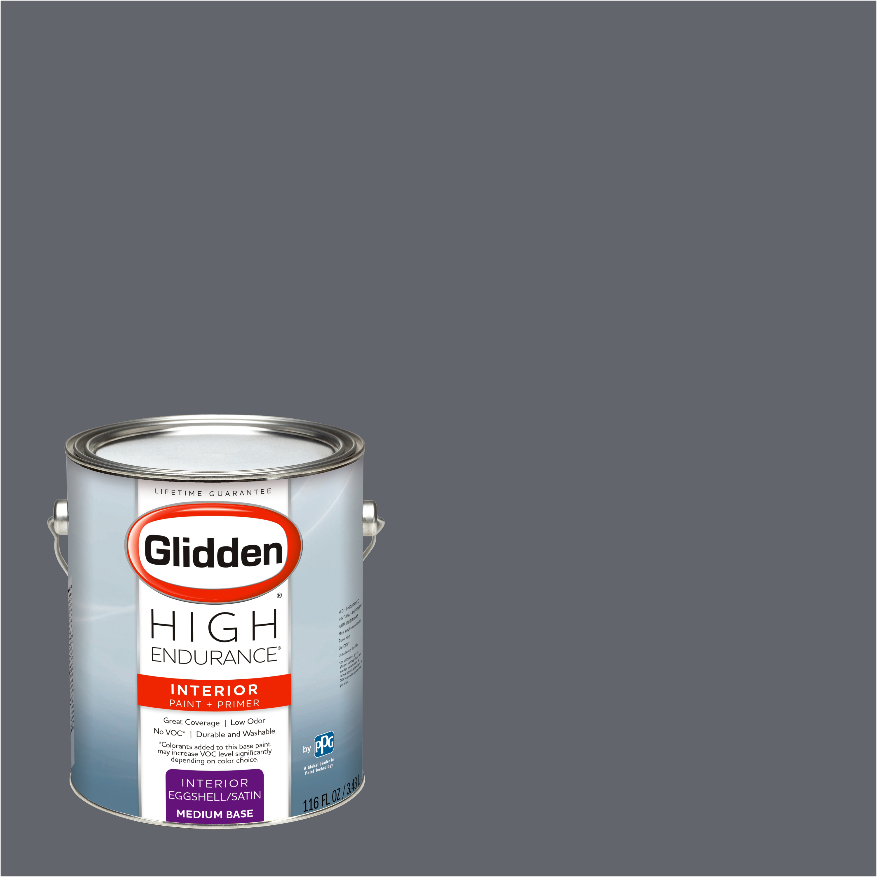 Glidden High Endurance, Interior Paint and Primer, Dark Grey Silk, #30BB 13/034