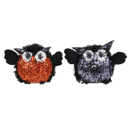 Set of 2 Orange, Purple and Black Sequence Crinkle Standing Owl's Halloween Decor - Orange And Black Halloween