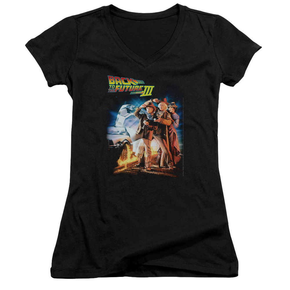 Back To The Future Iii Poster Juniors V-Neck Shirt