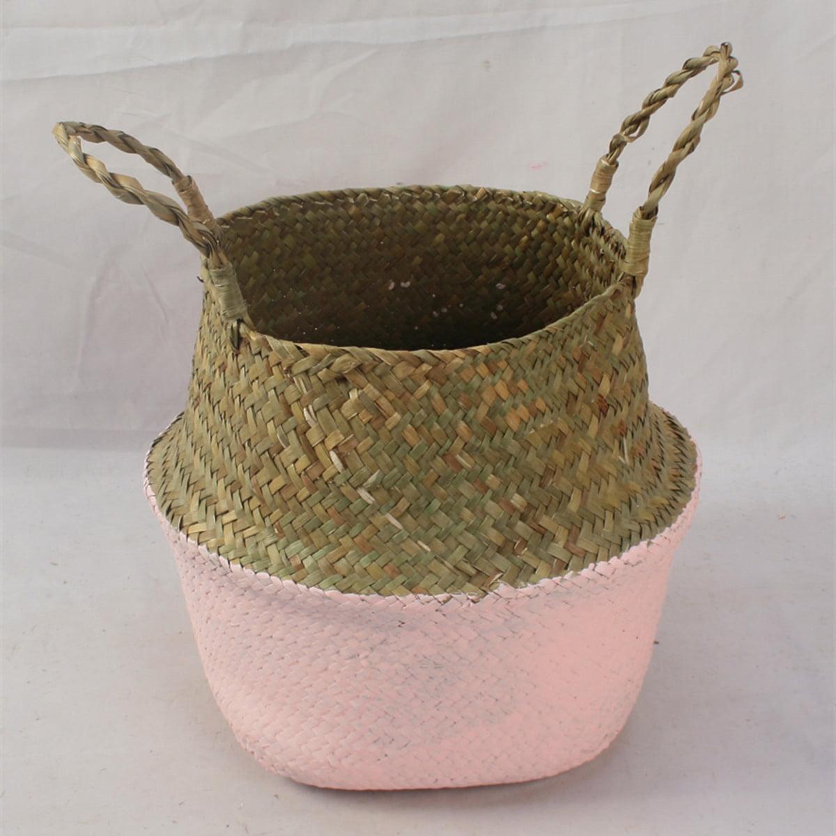 Meigar Handmade Rustic Storage Baskets Foldable Laundry Straw Patchwork Wicker Rattan Seagrass Belly Garden Flower Pot Planter Basket Garden Accessories