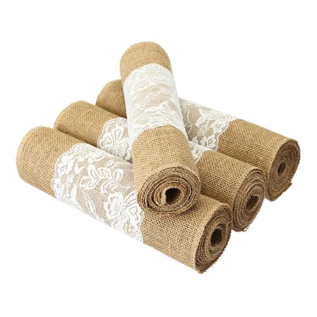 Moaere 4 Size Vintage Natural Burlap Jute Lace Table Runner Fabric Wedding Party
